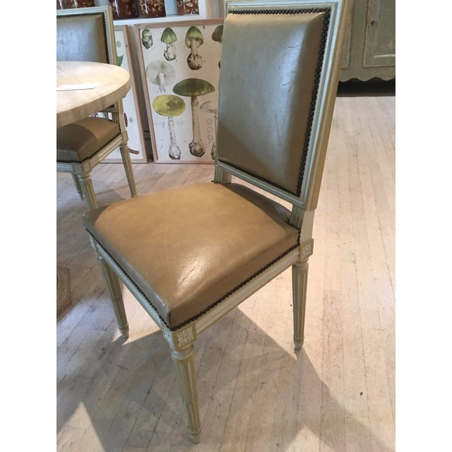 Square Back Louis XVI Dining Chairs Covered in a Tan Leather - Set of 4 For Sale - Image 10 of 11
