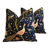 "Image of Chinoiserie Peacock & Floral Asian Feather/Down Pillows 24""- Pair For Sale"