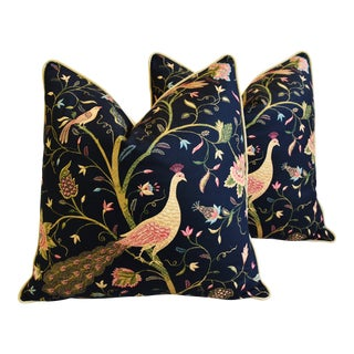 "Chinoiserie Peacock & Floral Asian Feather/Down Pillows 24""- Pair For Sale"
