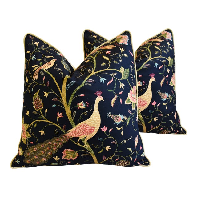 """Chinoiserie Peacock & Floral Asian Feather/Down Pillows 24""""- Pair For Sale"""
