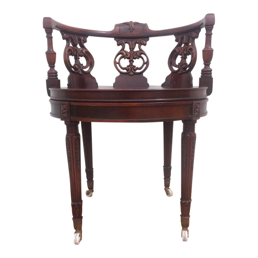 Vintage Rococo Carved Gany Chair For Desk Vanity Piano Or Library Chairish