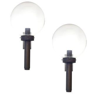 Bronze Sconces With Large Glass Globes - a Pair For Sale