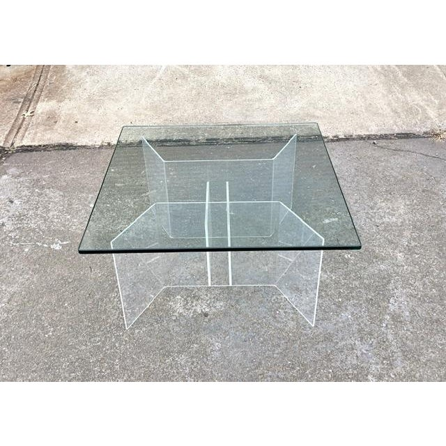 Transparent Mid-Century Modern Coffee Table With Lucite Geometric Base and Square Glass Top For Sale - Image 8 of 8