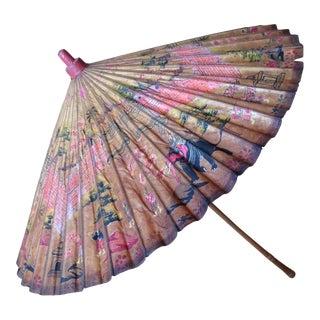 1920s Antique Asian Rice Paper Umbrella For Sale