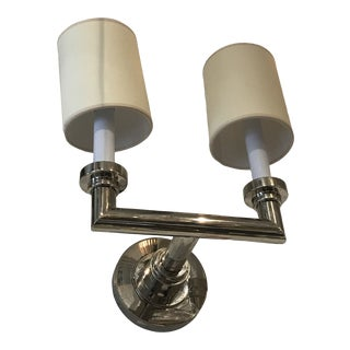 Wilton Double Shade and Light Nickel Wall Sconce For Sale