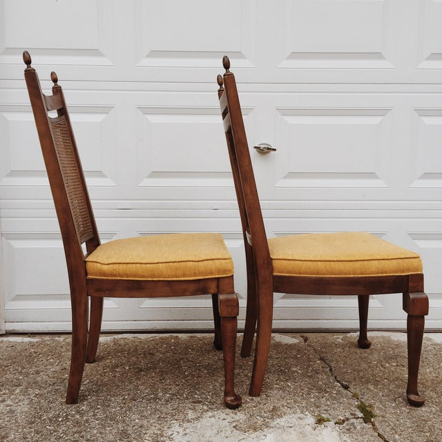 Early American Early American Wood Cane Dining Chairs - a Pair For Sale - Image 3 of 6