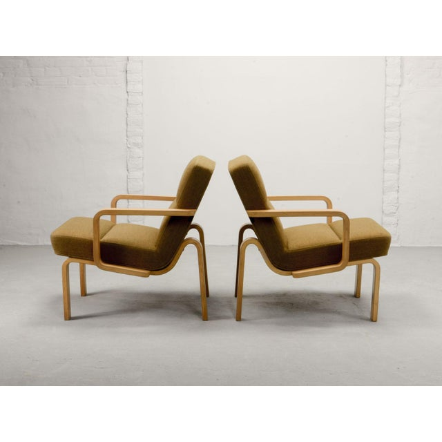 Contemporary Mid-Century Danish Plywood and Mustard Fabric Lounge Chairs by Rud Thygesen for Magnus Olesen, 1970s For Sale - Image 3 of 12