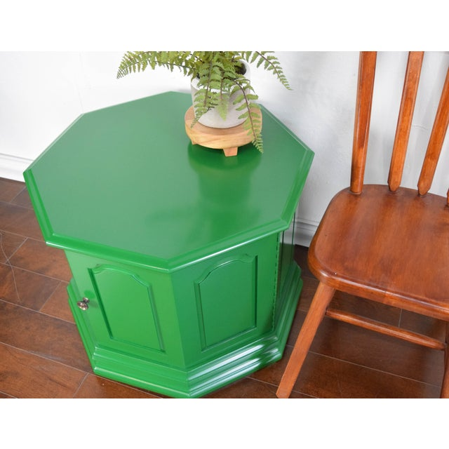 Bottle Green Fine Paints of Europe High Gloss Green Side Table For Sale In San Francisco - Image 6 of 8