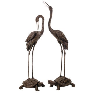 Crane and Tortoise Bronze Sculptures - a Pair For Sale