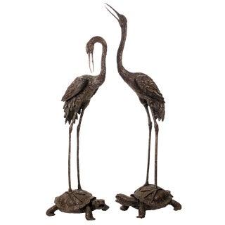 Crane and Tortoise Bronze Sculptures - a Pair