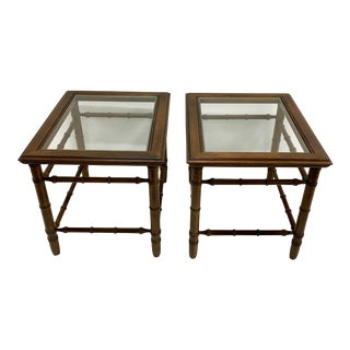 Mahogany & Glass Top End Tables - A Pair