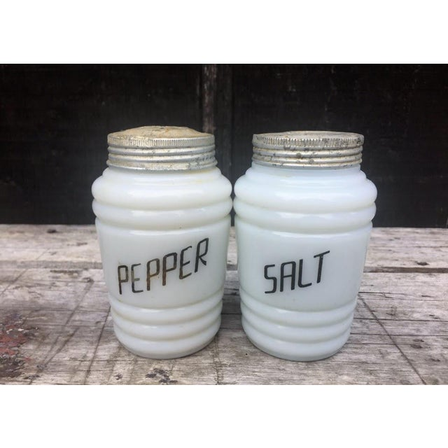 1950s White Milk Glass Salt & Pepper Shakers - a Pair For Sale - Image 5 of 5