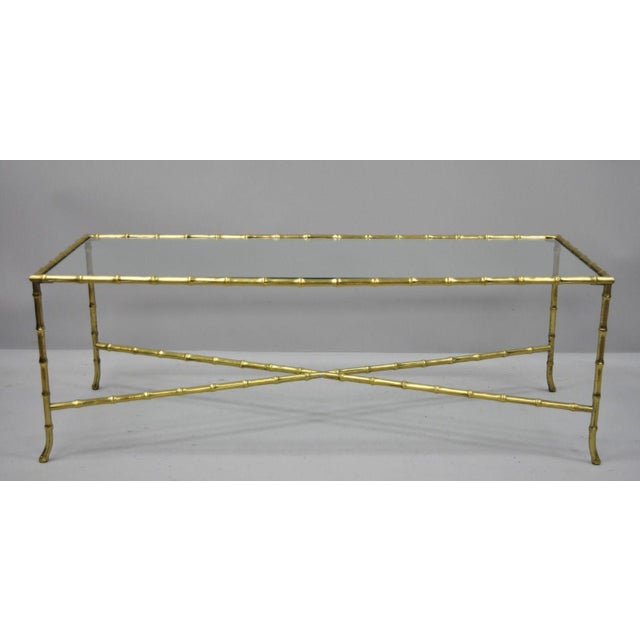 Maison Bagues French Bronze & Glass Faux Bamboo Rectangular Coffee Cocktail Table. Item features inset glass top, solid...