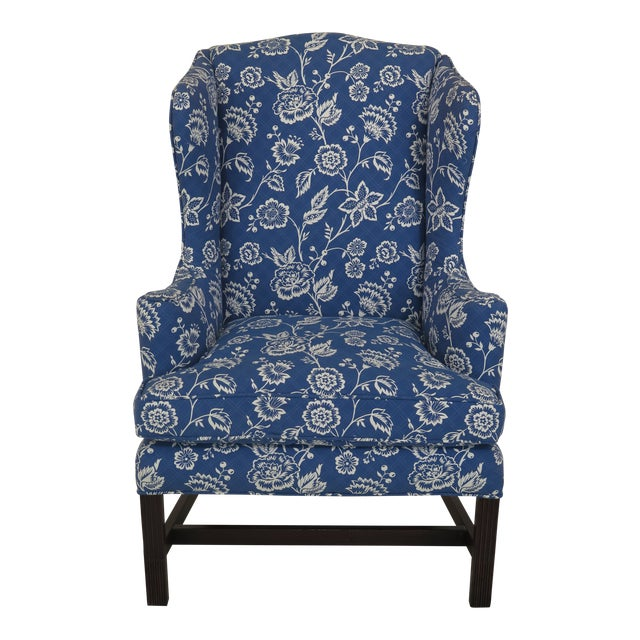 Kittinger Cw-12 Colonial Williamsburg Blue Upholstered Mahogany Wing Chair For Sale