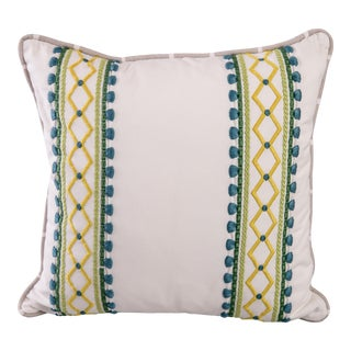 Boho Chic Custom Embroidered Square Pillow For Sale