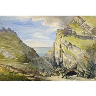 Antique Watercolor Landscape - Porth Dafarch, England For Sale