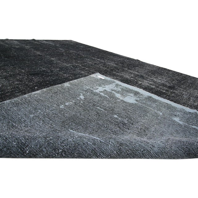 Mid 20th Century Vintage Turkish Dark Charcoal Rug With Industrial Style - 09'04 X 12'02 For Sale - Image 5 of 7