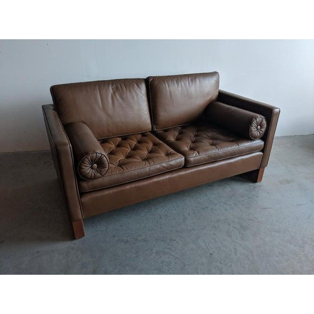 Mid-Century Modern Mies Van Der Rohe Brown Leather Settee for Knoll International For Sale - Image 3 of 11