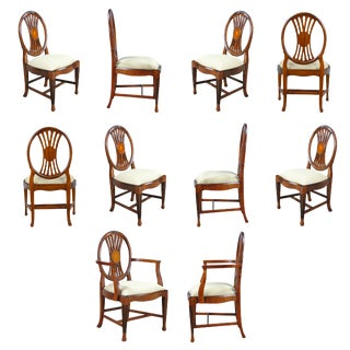 Round Back Inlaid Chairs- Set of 10 For Sale