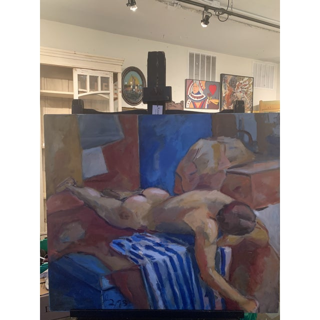Beautiful reclining Nude male painting signed 93