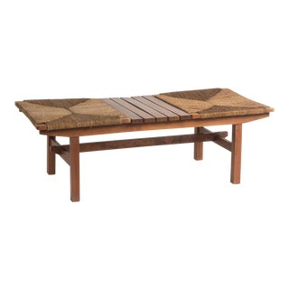 Vintage Rope + Wood Bench With Table For Sale