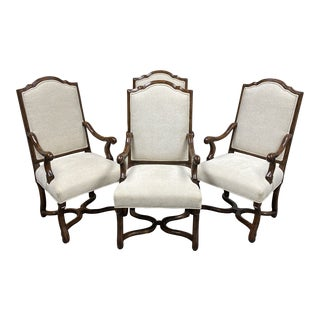 Michael Taylor Style Custom Wood + Fabric Chairs - Set of Four For Sale