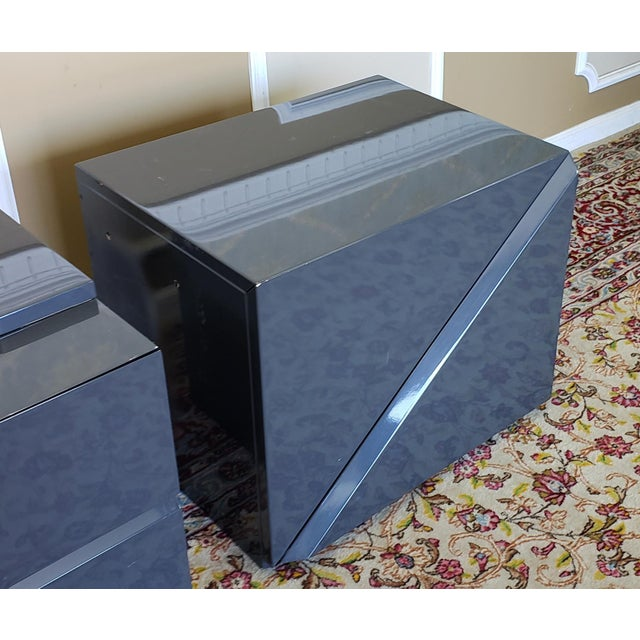 2 Canadian Rougier Streamlined Contemporary Lacquered Table Cabinets For Sale - Image 11 of 12