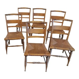 Dining Chairs With Rush Seats - Set of 6
