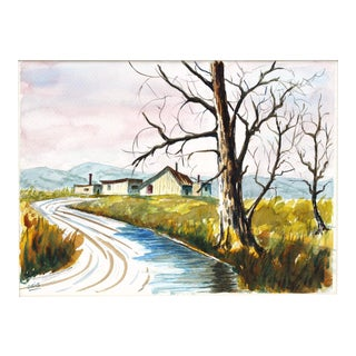 House on a Stream Watercolor Painting by Oris G. Turley For Sale
