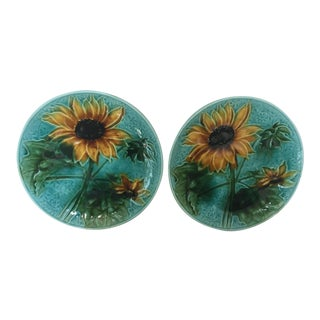 Vintage Villeroy & Boch Majolica Sunflower Plates - A Pair For Sale