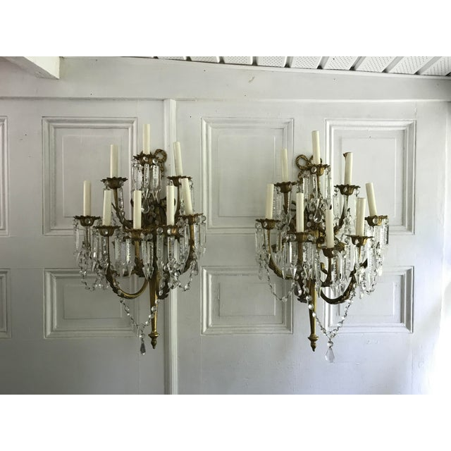A Pair of Antique French Crystal Bronze 18 Light Sconce Pair - Image 3 of 6