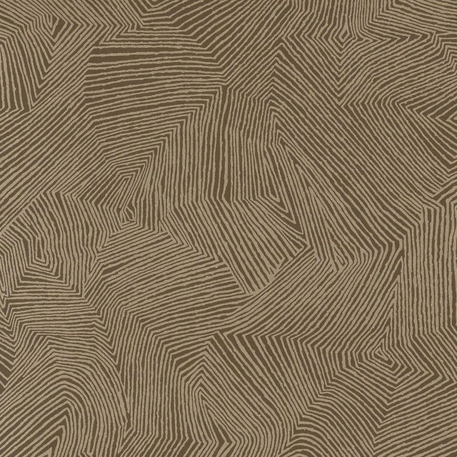 Schumacher Labyrinth Metallic Wallpaper in Espresso For Sale