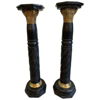 1860 French Marble Pedestals With Bronze Mounts - a Pair For Sale