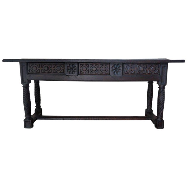 18th Spanish Baroque Carved Walnut Refectory Table For Sale