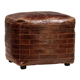 Leather Brick Square Ottoman For Sale