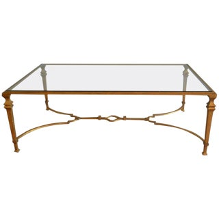 Mid-Century Modern, Gilded Wrought Iron Coffee Table With Glass Top