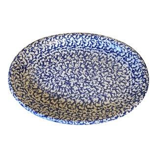 Blue Sponge Ware Ceramic Platter For Sale