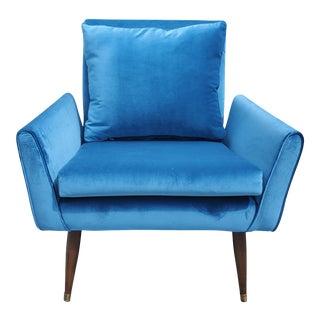Mid Century Modern Blue Velvet Chair For Sale
