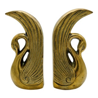 Vintage Hollywood Regency Brass Swan Bookends - a Pair