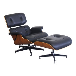 Authentic Herman Miller Eames Black Leather Walnut Lounge Chair and Ottoman