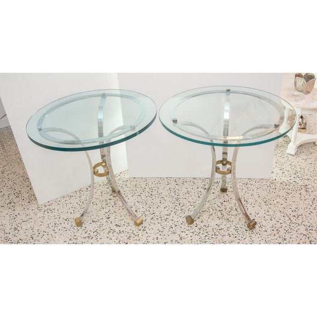 French Mid-Century Round Gueridon French Side Tables by Maison Jansen - a Pair For Sale - Image 3 of 10