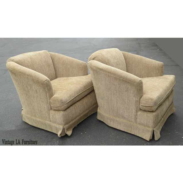 Vintage Dunlap Mid-Century Style Tan Swivel Chairs - A Pair - Image 2 of 9