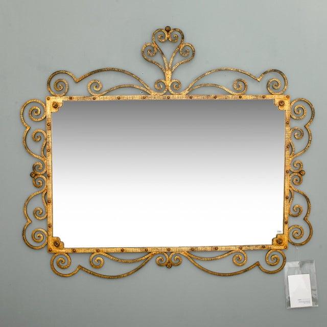 Italian 1960s Large Italian Gilt Metal Horizontal Scrollwork Mirror For Sale - Image 3 of 8