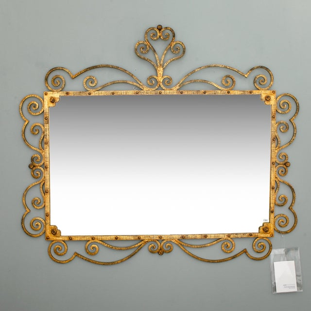 Large Italian Gilt Metal Horizontal Mirror With Elaborate Scroll Work - Image 3 of 8