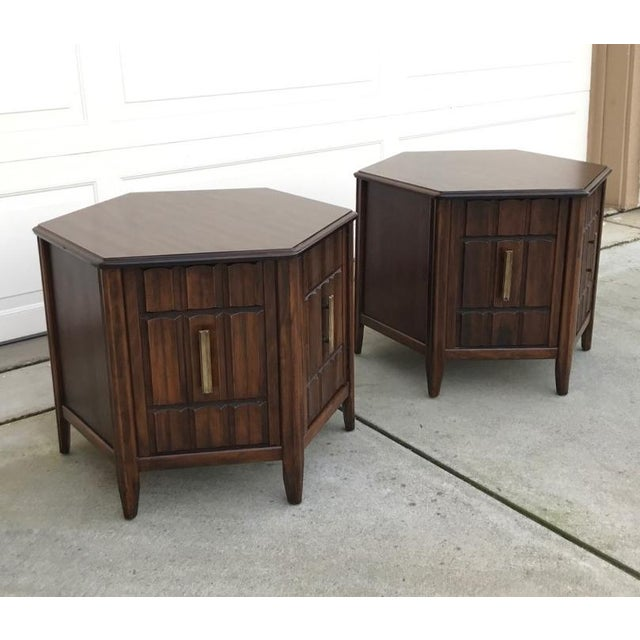 Mersman Mid Century Hexagon Brutalist-Style Side Tables or Nightstands - a Pair - Image 2 of 8