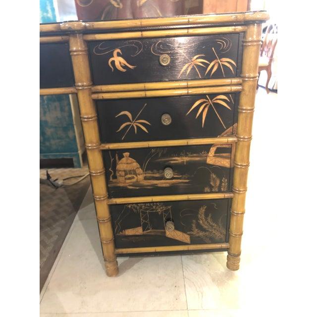 Metal Regency Faux Bamboo Double Pedestal Partners Desk For Sale - Image 7 of 13