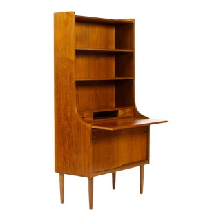 Danish Modern / Mid Century Upright Teak Secretary Desk / Bookcase – Sliding Doors For Sale