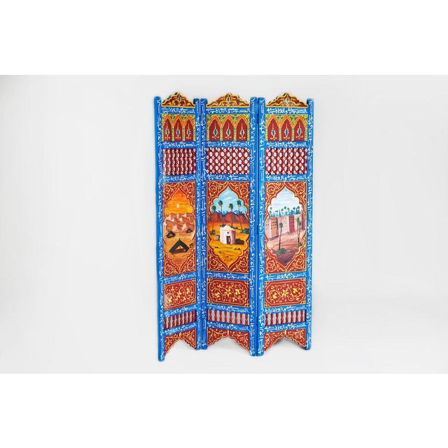Moroccan Blue 3 Panel Screen - Image 2 of 6