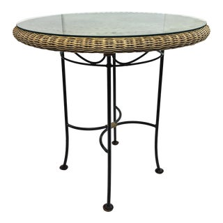 Vintage Mid Century Modern Round Wicker & Iron Table With Glass Top For Sale