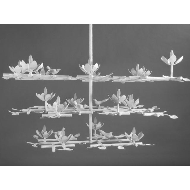 Enamel 3 Layer Garden Plaster Chandelier With White Finish For Sale - Image 7 of 7